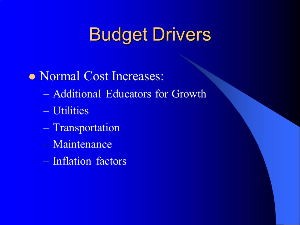 Budget Drivers Normal Cost Increases: –Additional Educators for Growth –Utilities –Transportation –Maintenance –Inflation factors