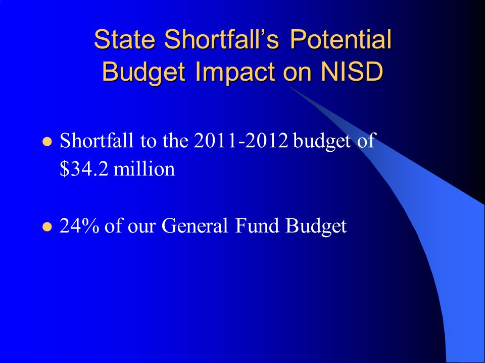 State Shortfall's Potential Budget Impact on NISD Shortfall to the 2011-2012 budget of $34.2 million 24% of our General Fund Budget