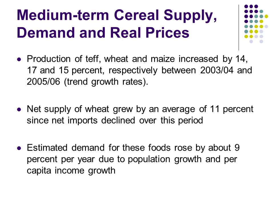 Medium-term Cereal Supply, Demand and Real Prices Production of teff, wheat and maize increased by 14, 17 and 15 percent, respectively between 2003/04 and 2005/06 (trend growth rates).