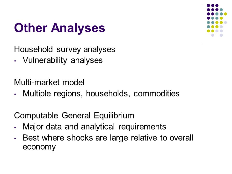 Other Analyses Household survey analyses Vulnerability analyses Multi-market model Multiple regions, households, commodities Computable General Equilibrium Major data and analytical requirements Best where shocks are large relative to overall economy