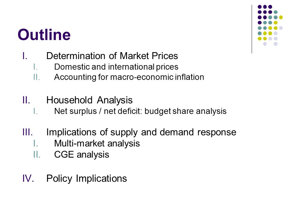 Outline I.Determination of Market Prices I.Domestic and international prices II.Accounting for macro-economic inflation II.Household Analysis I.Net su