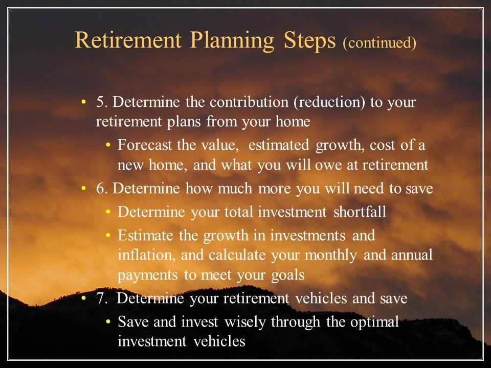 Retirement Planning Steps (continued) 5.