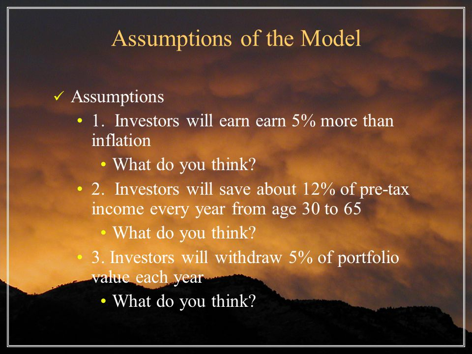 Assumptions of the Model Assumptions 1.