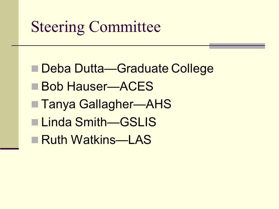 Steering Committee Deba Dutta—Graduate College Bob Hauser—ACES Tanya Gallagher—AHS Linda Smith—GSLIS Ruth Watkins—LAS