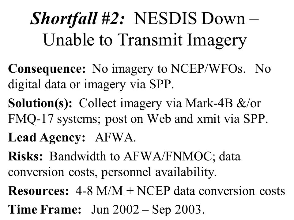 Shortfall #2: NESDIS Down – Unable to Transmit Imagery Consequence: No imagery to NCEP/WFOs.