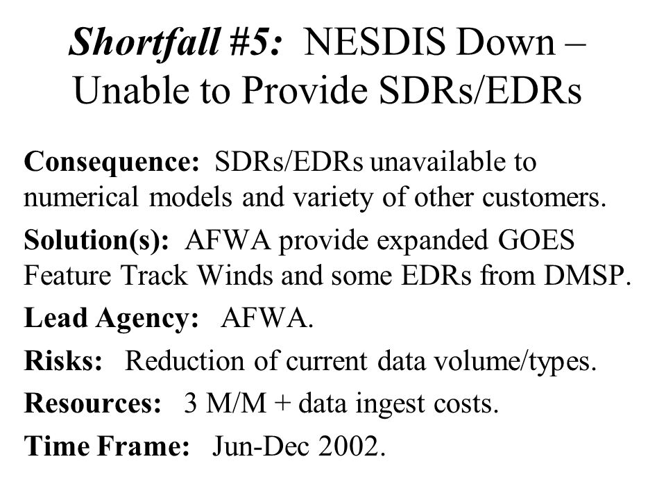 Shortfall #5: NESDIS Down – Unable to Provide SDRs/EDRs Consequence: SDRs/EDRs unavailable to numerical models and variety of other customers.