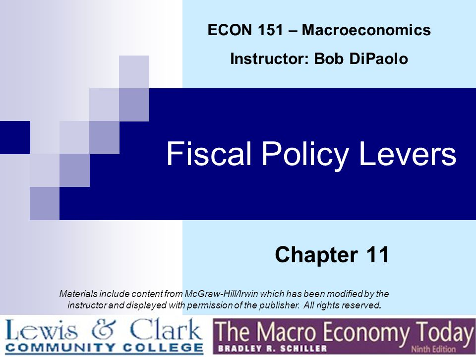 Fiscal Policy Levers End of Chapter 11 ECON 151 - MACROECONOMICS
