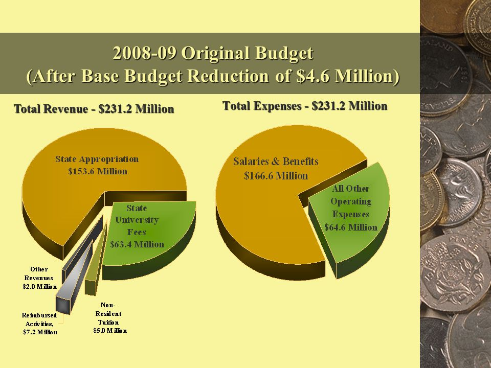 2008-09 Original Budget (After Base Budget Reduction of $4.6 Million) Total Expenses - $231.2 Million Total Revenue - $231.2 Million