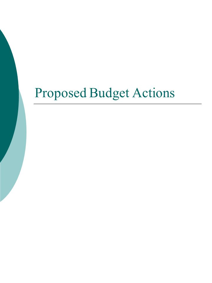 Proposed Budget Actions