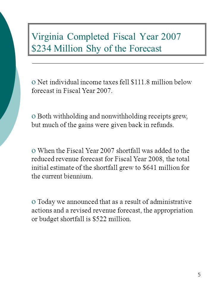 5 o Net individual income taxes fell $111.8 million below forecast in Fiscal Year 2007.