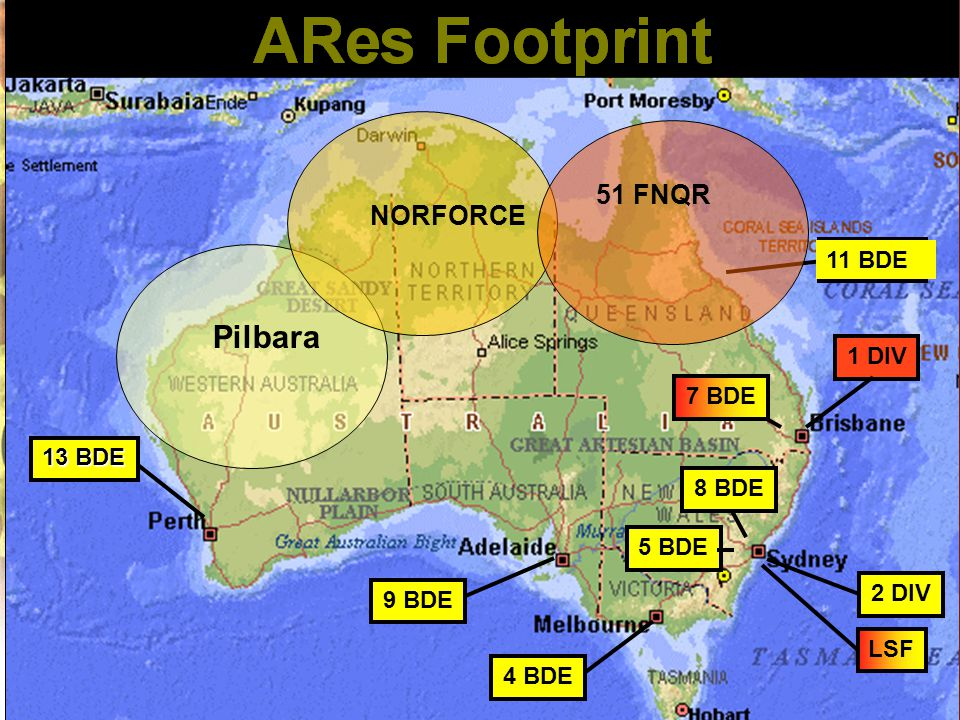 1 DIV 11 BDE LSF 5 BDE 8 BDE 9 BDE 4 BDE 2 DIV 13 BDE 11 BDE 7 BDE Pilbara NORFORCE 51 FNQR