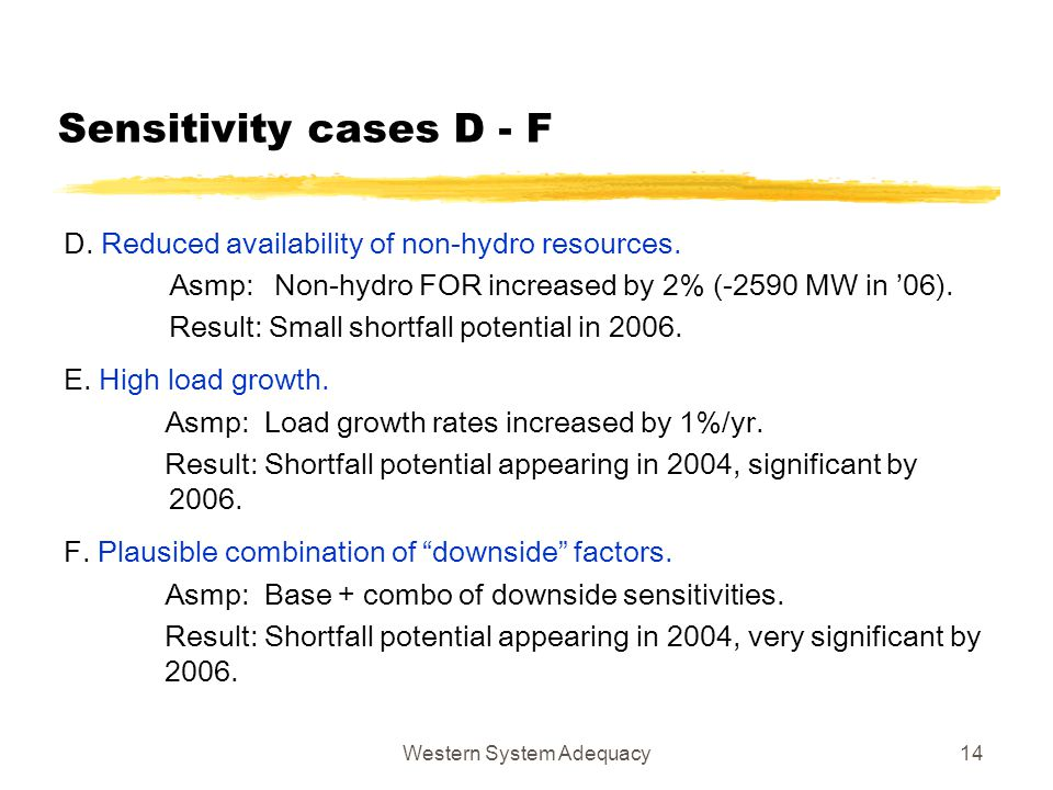 Western System Adequacy14 Sensitivity cases D - F D. Reduced availability of non-hydro resources. Asmp: Non-hydro FOR increased by 2% (-2590 MW in '06