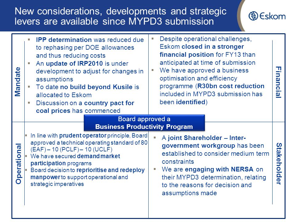 New considerations, developments and strategic levers are available since MYPD3 submission 10 Mandate Financial Stakeholder Operational  IPP determination was reduced due to rephasing per DOE allowances and thus reducing costs  An update of IRP2010 is under development to adjust for changes in assumptions  To date no build beyond Kusile is allocated to Eskom  Discussion on a country pact for coal prices has commenced  Despite operational challenges, Eskom closed in a stronger financial position for FY13 than anticipated at time of submission  We have approved a business optimisation and efficiency programme (R30bn cost reduction included in MYPD3 submission has been identified)  In line with prudent operator principle, Board approved a technical operating standard of 80 (EAF) – 10 (PCLF) – 10 (UCLF)  We have secured demand market participation programs  Board decision to reprioritise and redeploy manpower to support operational and strategic imperatives  A joint Shareholder – Inter- government workgroup has been established to consider medium term constraints  We are engaging with NERSA on their MYPD3 determination, relating to the reasons for decision and assumptions made Board approved a Business Productivity Program Board approved a Business Productivity Program