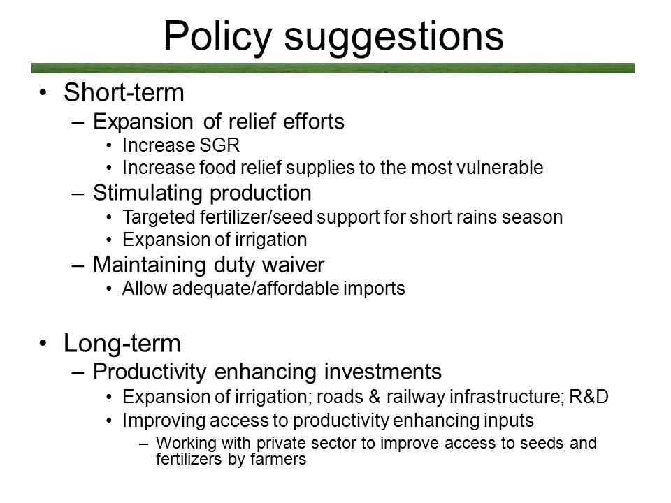 Policy suggestions Short-term –Expansion of relief efforts Increase SGR Increase food relief supplies to the most vulnerable –Stimulating production T