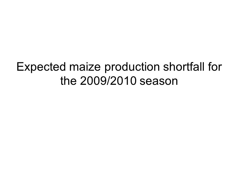 Expected maize production shortfall for the 2009/2010 season