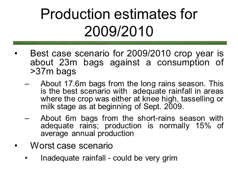 Production estimates for 2009/2010 Best case scenario for 2009/2010 crop year is about 23m bags against a consumption of >37m bags –About 17.6m bags f