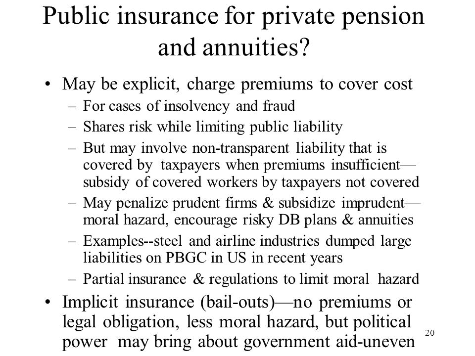 20 Public insurance for private pension and annuities.