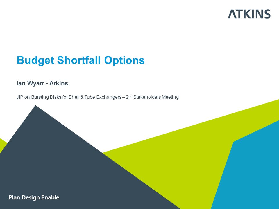 Budget Shortfall Options Ian Wyatt - Atkins JIP on Bursting Disks for Shell & Tube Exchangers – 2 nd Stakeholders Meeting