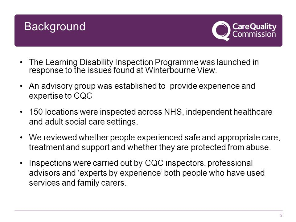 The Learning Disability Inspection Programme was launched in response to the issues found at Winterbourne View. An advisory group was established to p