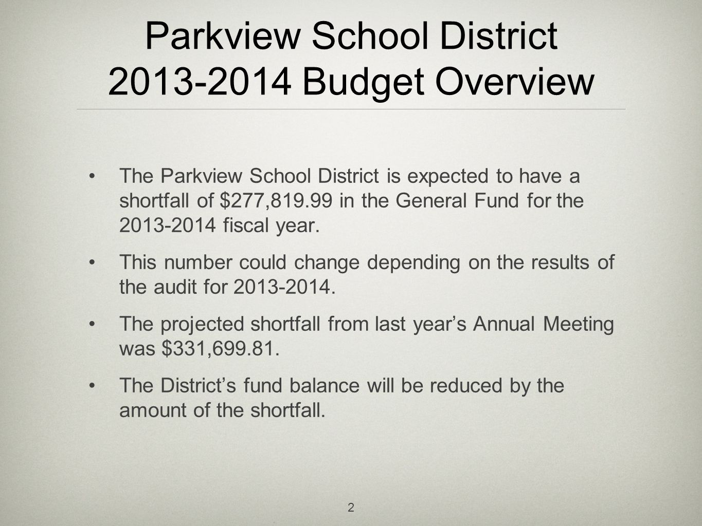 Parkview School District 2014-2015 Budget Overview The Parkview School District is expected to have a budget deficit of $186,730.30 for the 2014-2015 fiscal year.