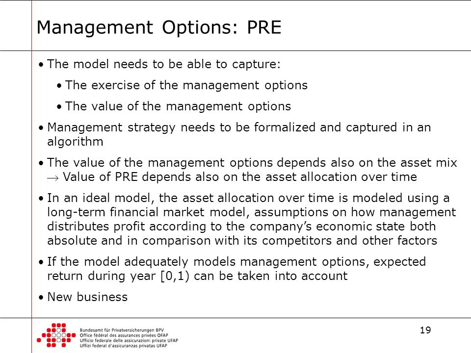 19 Management Options: PRE The model needs to be able to capture: The exercise of the management options The value of the management options Management strategy needs to be formalized and captured in an algorithm The value of the management options depends also on the asset mix  Value of PRE depends also on the asset allocation over time In an ideal model, the asset allocation over time is modeled using a long-term financial market model, assumptions on how management distributes profit according to the company's economic state both absolute and in comparison with its competitors and other factors If the model adequately models management options, expected return during year [0,1) can be taken into account New business