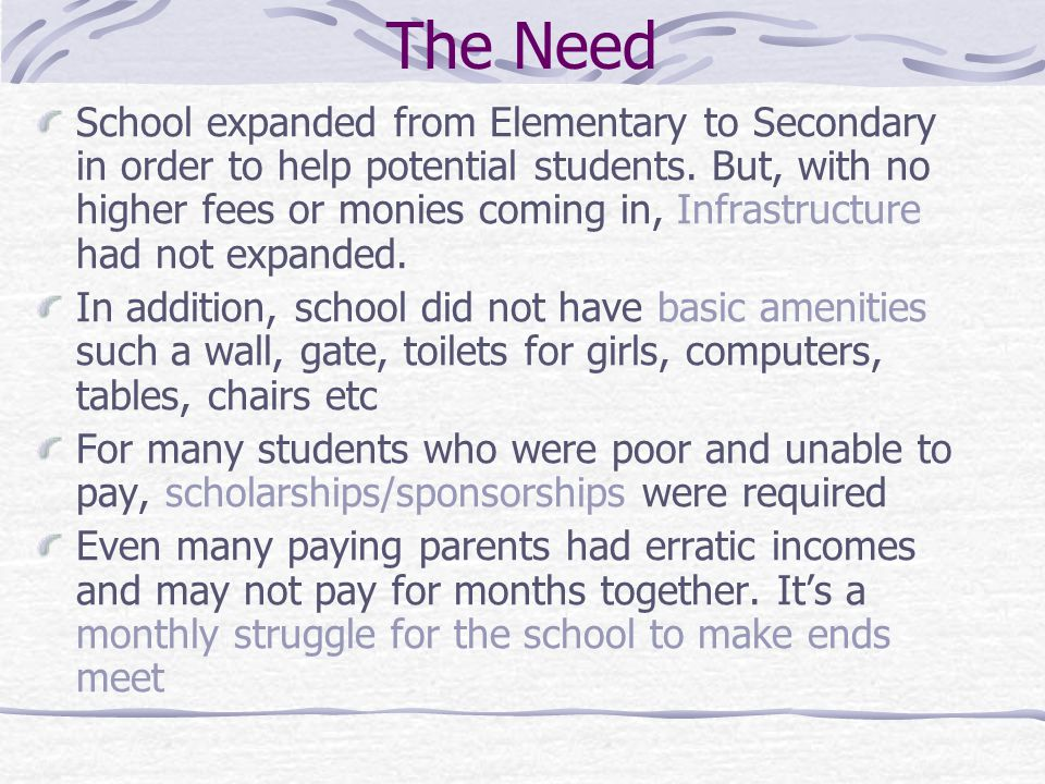 The Need School expanded from Elementary to Secondary in order to help potential students.