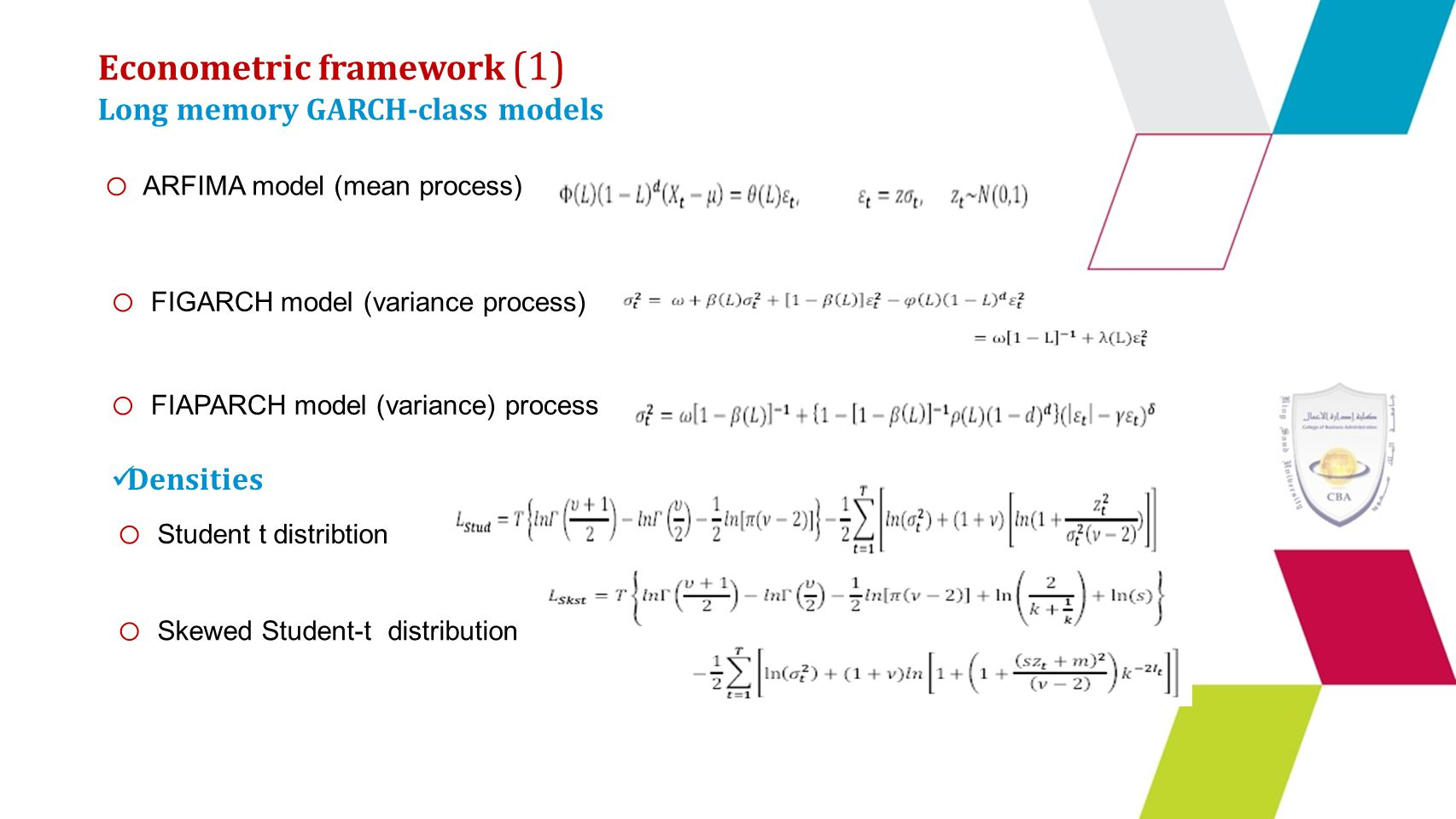 Econometric framework (1) Long memory GARCH-class models o ARFIMA model (mean process) o FIGARCH model (variance process) o FIAPARCH model (variance) process Densities o Student t distribtion o Skewed Student-t distribution