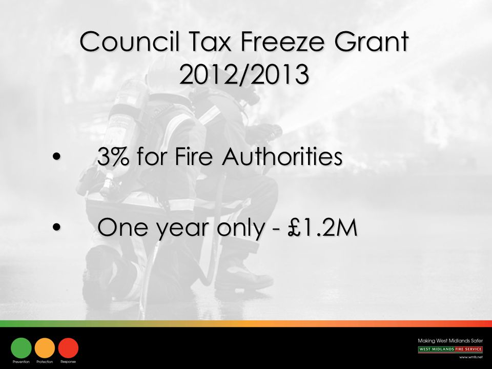 Council Tax Freeze Grant 2012/2013 3% for Fire Authorities3% for Fire Authorities One year only - £1.2MOne year only - £1.2M