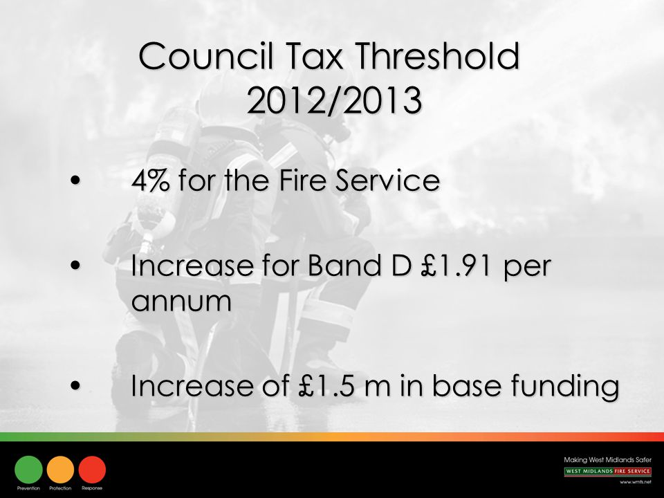 Council Tax Threshold 2012/2013 4% for the Fire Service4% for the Fire Service Increase for Band D £1.91 per annumIncrease for Band D £1.91 per annum Increase of £1.5 m in base fundingIncrease of £1.5 m in base funding