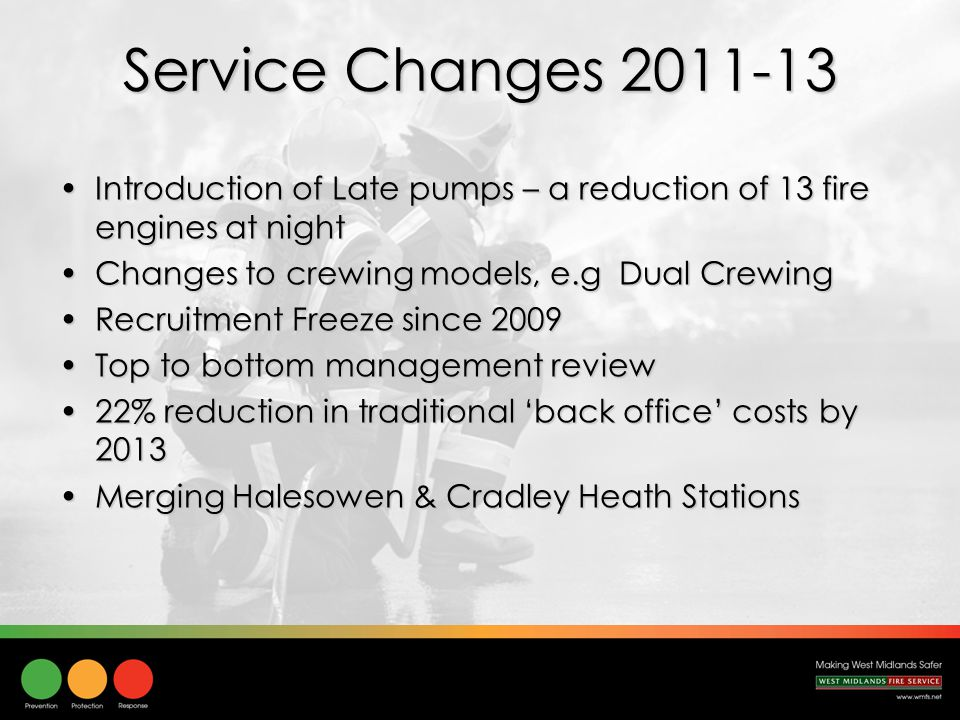 Service Changes 2011-13 Introduction of Late pumps – a reduction of 13 fire engines at nightIntroduction of Late pumps – a reduction of 13 fire engines at night Changes to crewing models, e.g Dual CrewingChanges to crewing models, e.g Dual Crewing Recruitment Freeze since 2009Recruitment Freeze since 2009 Top to bottom management reviewTop to bottom management review 22% reduction in traditional 'back office' costs by 201322% reduction in traditional 'back office' costs by 2013 Merging Halesowen & Cradley Heath StationsMerging Halesowen & Cradley Heath Stations