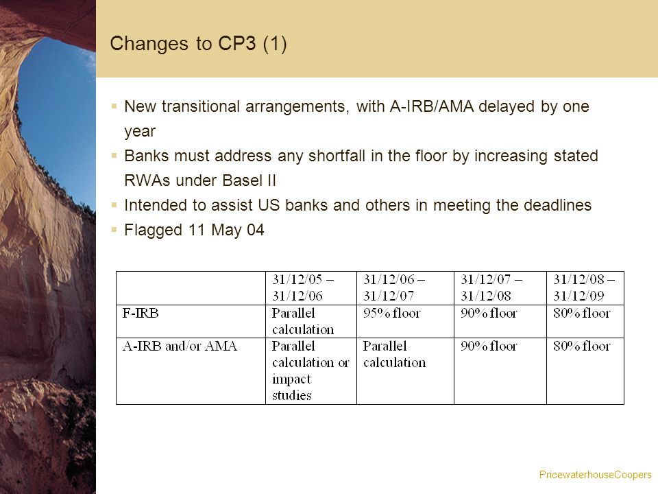 PricewaterhouseCoopers Changes to CP3 (2)  Scaling factor introduced  Initially set at 1.06  I.e.