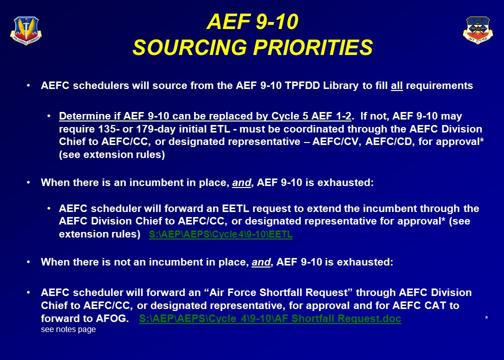AEF 9-10 Resources Sourcing resource order (AEF 9-10) (1) ARC volunteer buys (full UTCs only) ARC complete buy NLT 13 Jan 04 AEFC Schedulers update ARC buy in ECSS and DCAPES NLT 21 Jan 04 (2) Cycle 4/AEF 9-10 TPFDD Library (3)Enablers (must be approved by the MAJCOM FAM) and ARC residuals (additional requirements ARC agrees to fill – AEFC scheduler coordinates w/ARC AEF Cell) (4)AEFC scheduler forwards request to AFCC FAM to use other suitable subs (i.e.