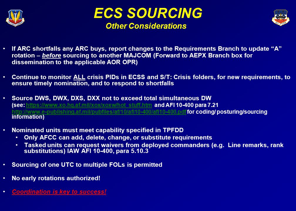 ECS SOURCING Other Considerations (cont) Review current procedures for using and processing ECSS, ART and DCAPES data Ensure you have needed reference material* Base alignment template, sourcing rule-sets, PAS and MAC codes, MANFOR, GLOC table, T and N codes, line remarks table, UICs, T-PAS ARC UTCs Schedulers will work with the AFRC and ANG AEF Cells and AEFC CG and CR for additional ARC volunteers LINK SOURCING TO LIBRARIESLINK SOURCING TO LIBRARIES If UTCs are broken to fill other UTC requirements notify the MAJCOM FAM which AEF library UTC is being broken, so it can be appropriately marked as tasked in ART Coordinate with MAJCOM counterparts Your judgment is key.