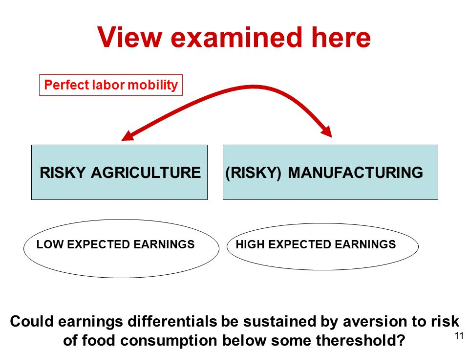 11 View examined here RISKY AGRICULTURE(RISKY) MANUFACTURING Could earnings differentials be sustained by aversion to risk of food consumption below s
