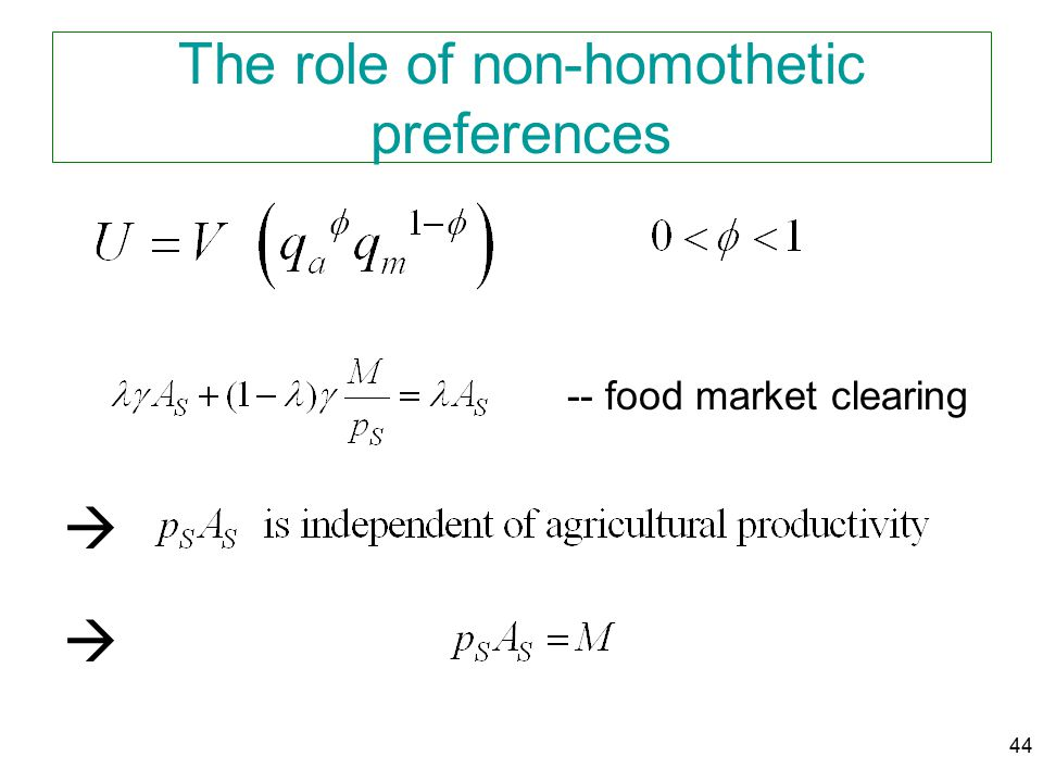 44 The role of non-homothetic preferences -- food market clearing  