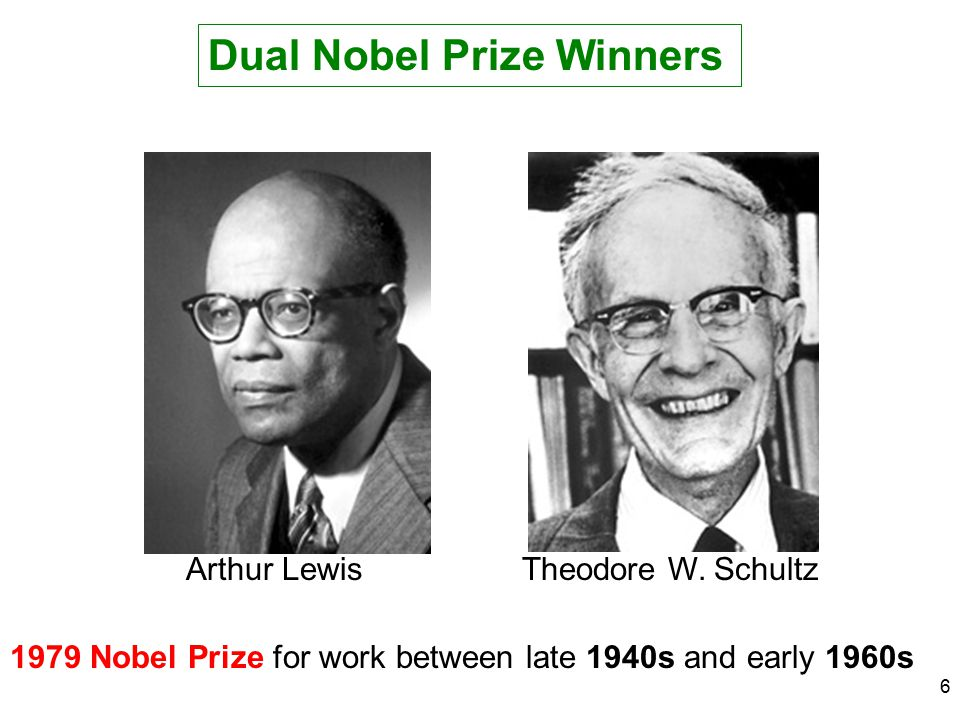6 Dual Nobel Prize Winners Arthur LewisTheodore W. Schultz 1979 Nobel Prize for work between late 1940s and early 1960s