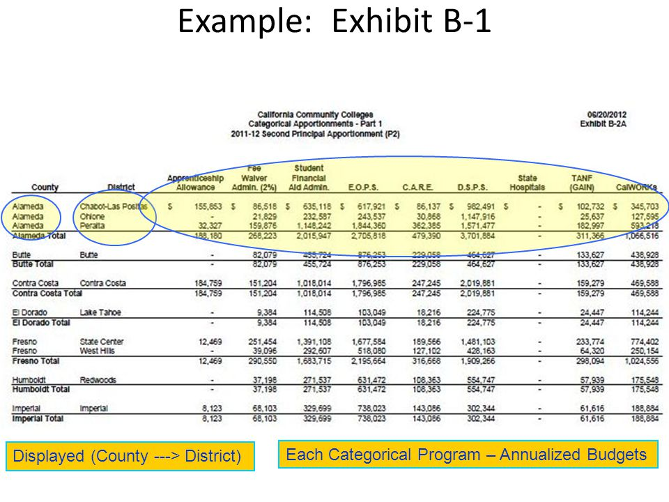 Each Categorical Program – Annualized Budgets Displayed (County ---> District)
