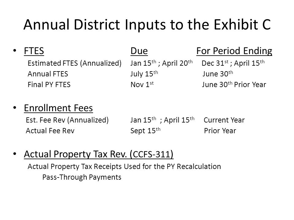 Annual District Inputs to the Exhibit C FTES Due For Period Ending Estimated FTES (Annualized) Jan 15 th ; April 20 th Dec 31 st ; April 15 th Annual FTES July 15 th June 30 th Final PY FTES Nov 1 st June 30 th Prior Year Enrollment Fees Est.