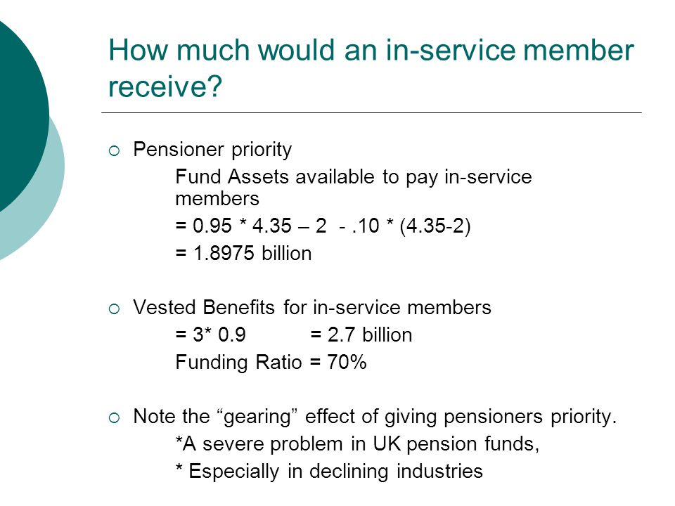 How much would an in-service member receive?  Pensioner priority Fund Assets available to pay in-service members = 0.95 * 4.35 – 2 -.10 * (4.35-2) =
