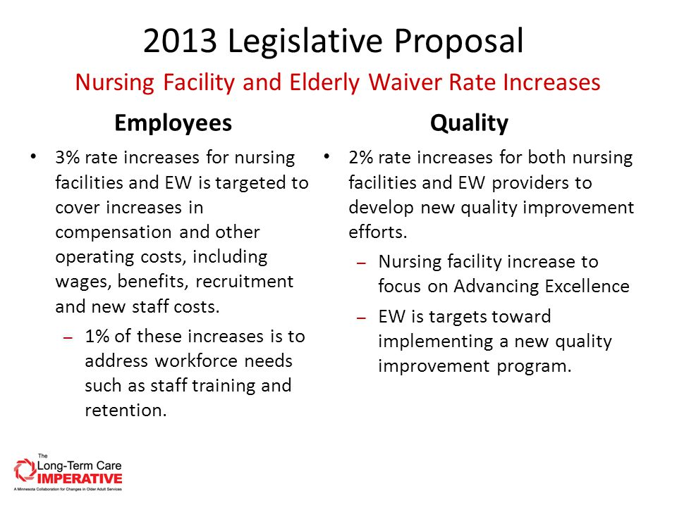 2013 Legislative Proposal Employees 3% rate increases for nursing facilities and EW is targeted to cover increases in compensation and other operating costs, including wages, benefits, recruitment and new staff costs.