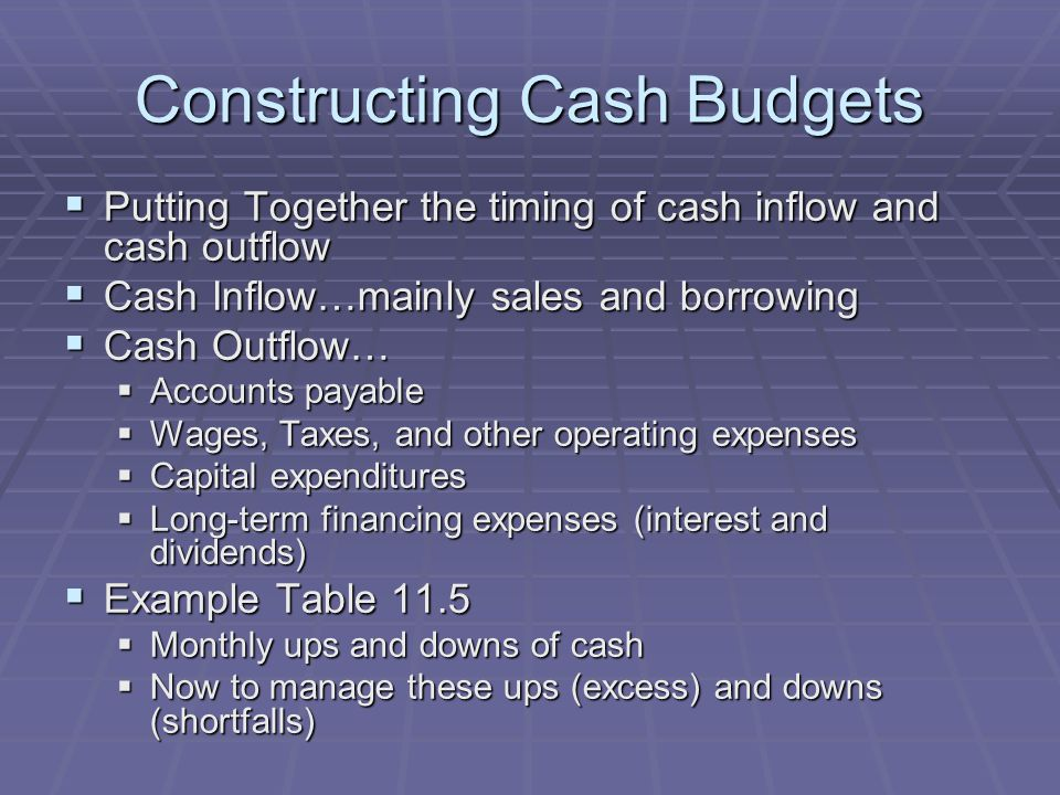 Constructing Cash Budgets  Putting Together the timing of cash inflow and cash outflow  Cash Inflow…mainly sales and borrowing  Cash Outflow…  Accounts payable  Wages, Taxes, and other operating expenses  Capital expenditures  Long-term financing expenses (interest and dividends)  Example Table 11.5  Monthly ups and downs of cash  Now to manage these ups (excess) and downs (shortfalls)