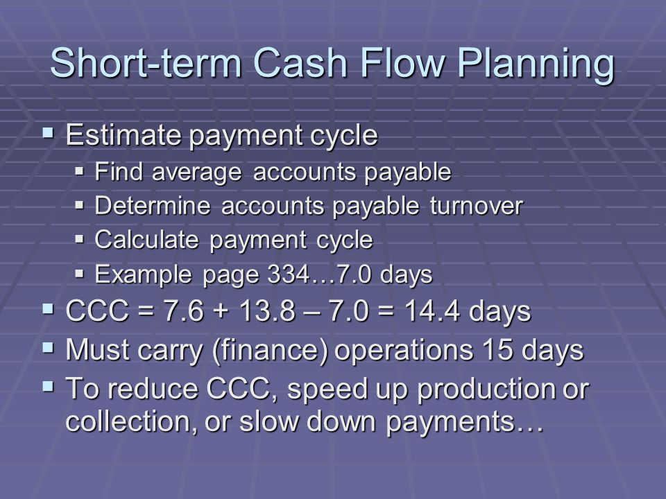 Short-term Cash Flow Planning  Estimate payment cycle  Find average accounts payable  Determine accounts payable turnover  Calculate payment cycle  Example page 334…7.0 days  CCC = 7.6 + 13.8 – 7.0 = 14.4 days  Must carry (finance) operations 15 days  To reduce CCC, speed up production or collection, or slow down payments…