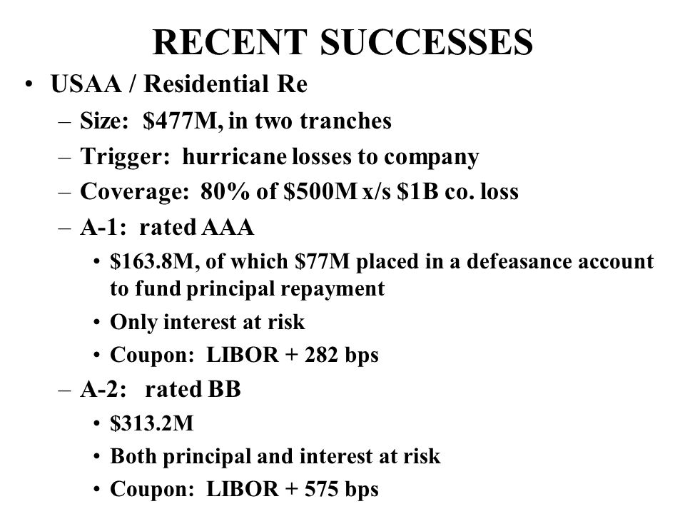RECENT SUCCESSES USAA / Residential Re –Size: $477M, in two tranches –Trigger: hurricane losses to company –Coverage: 80% of $500M x/s $1B co.