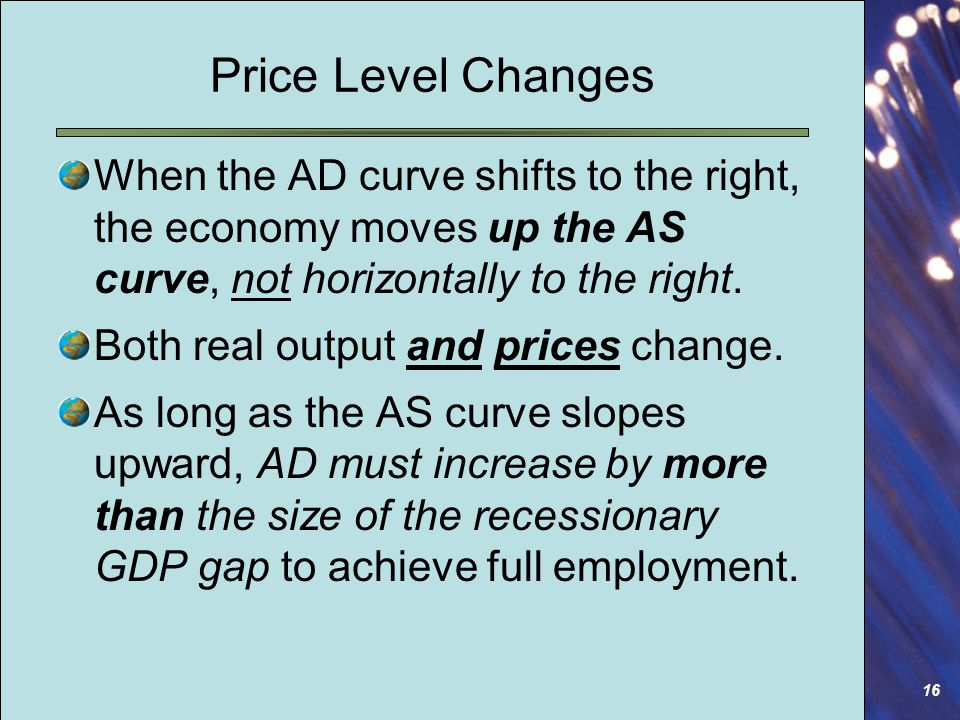 16 Price Level Changes When the AD curve shifts to the right, the economy moves up the AS curve, not horizontally to the right.