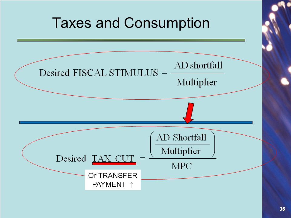 36 Taxes and Consumption Or TRANSFER PAYMENT ↑