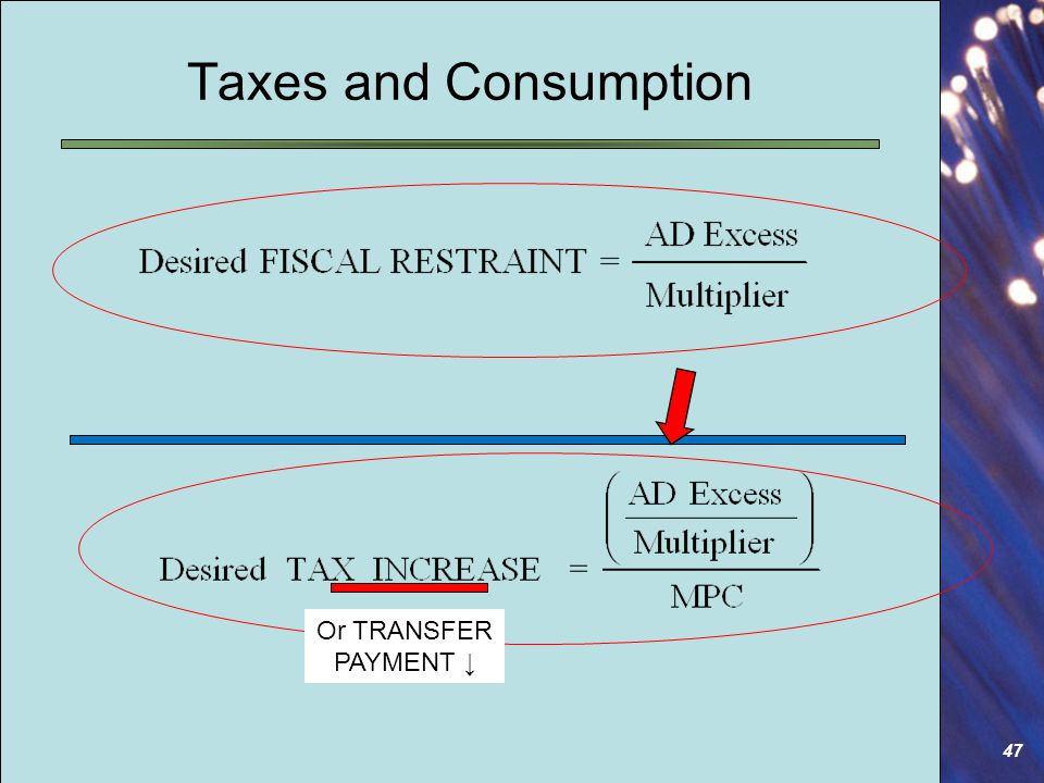 47 Taxes and Consumption Or TRANSFER PAYMENT ↓