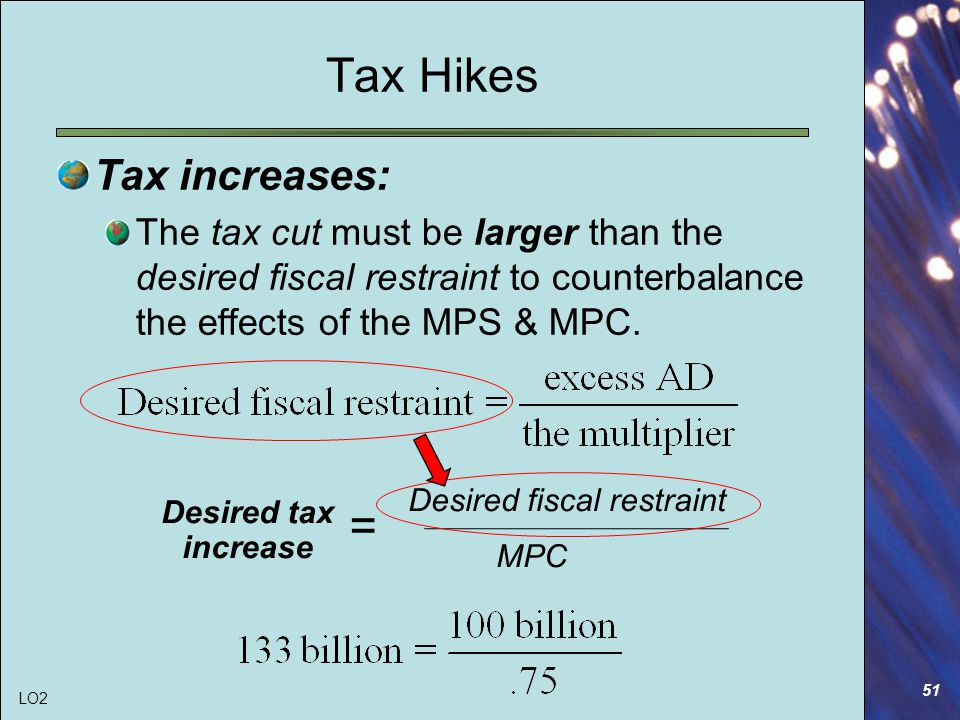 51 Tax Hikes Tax increases: The tax cut must be larger than the desired fiscal restraint to counterbalance the effects of the MPS & MPC.