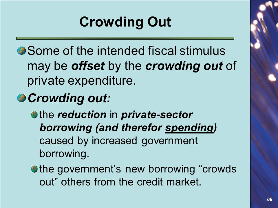 66 Crowding Out Some of the intended fiscal stimulus may be offset by the crowding out of private expenditure.