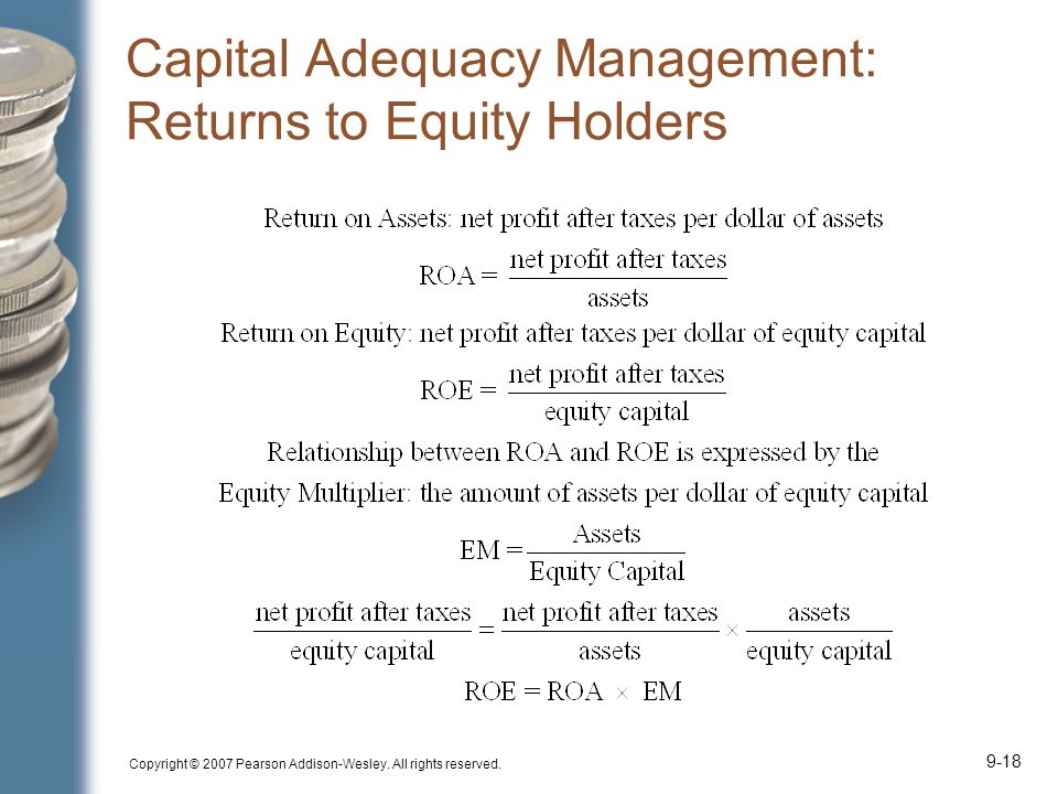 Copyright © 2007 Pearson Addison-Wesley. All rights reserved. 9-18 Capital Adequacy Management: Returns to Equity Holders
