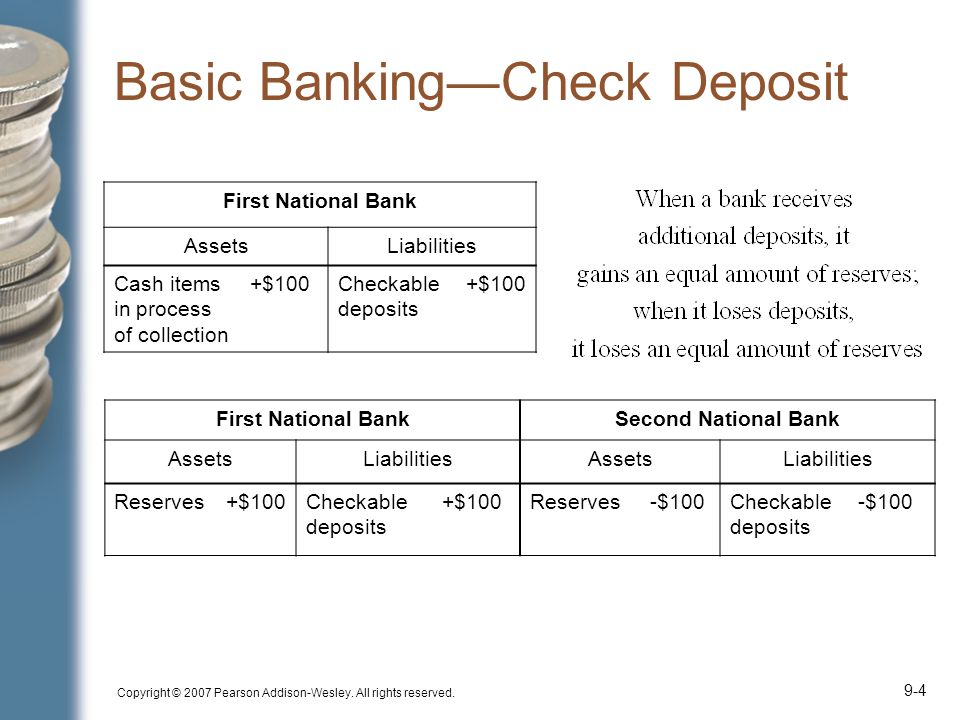 Copyright © 2007 Pearson Addison-Wesley. All rights reserved. 9-4 Basic Banking—Check Deposit First National BankSecond National Bank AssetsLiabilitie